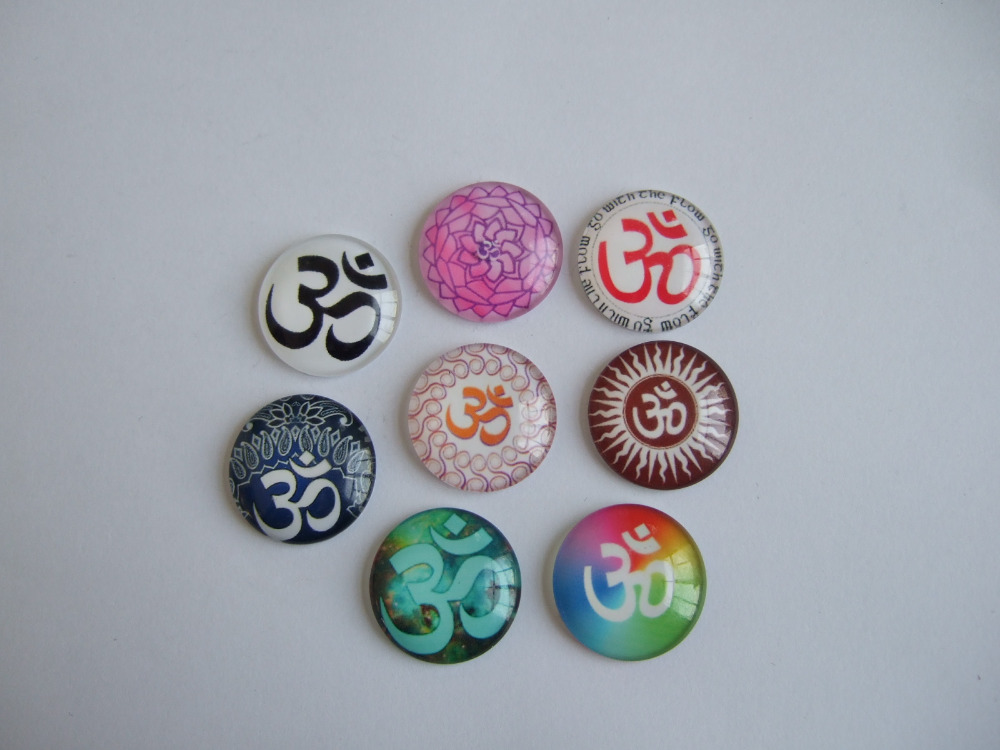 10pcs Mixed Color OM OHM AUM Symbol Yoga Cabochon Dome Flat Back for Tray Pendant Cover