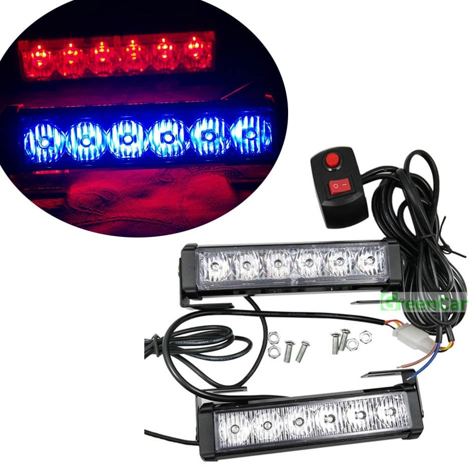 1set 6ledx2 36w car led warning light front grill roof flashing strobe police headlight beacons. Black Bedroom Furniture Sets. Home Design Ideas
