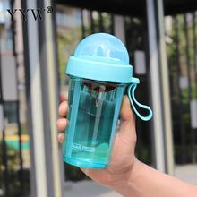 420ml Drink Water Bottles Creative Couple Sippy Cups Sports Bottle With Straw Coffee For Of A Cup Double