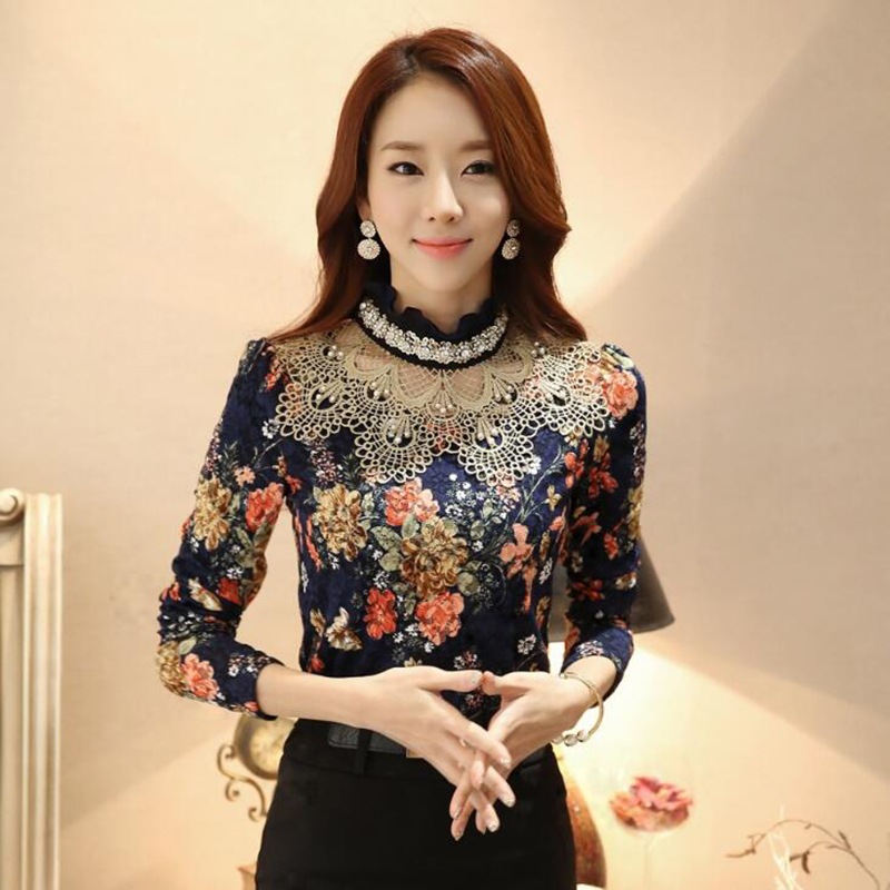 Lace Blouse Shirt Long Sleeve Shirts 2017 Blusa Korean Elegant Pearl Flower Laciness Ladies Tops Office