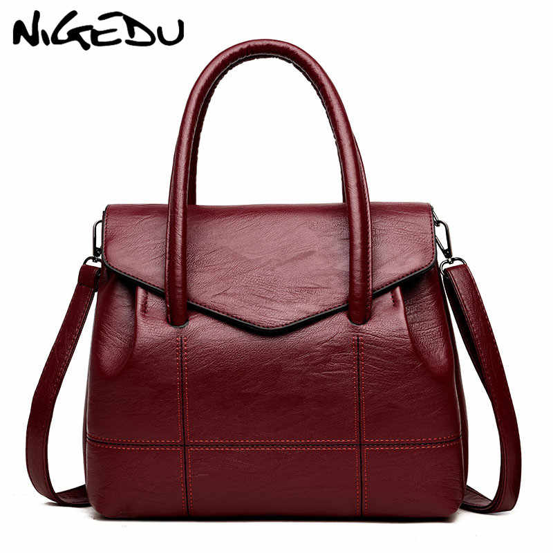 676cab79a NIGEDU Women Lather Handbags Large Famous Brand female Shoulder Bag Big  Office Tote Bags For Women