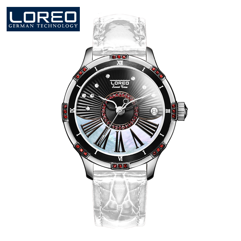 LOREO Authentic automatic mechanical watch waterproof belt diamond fashion luxury elegant hollow lady watch authentic luxury