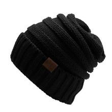 Женщины Зима Повседневная Мужская Трикотажная Лыж Cap Твердые Шапочка Cap Hat Мужчины