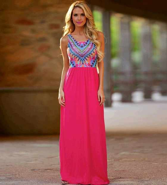 a3637294d6 2016 Nuevo Verano de gasa sin mangas Vestidos moda vestidos vintage  imprimir verano vestido largo casual