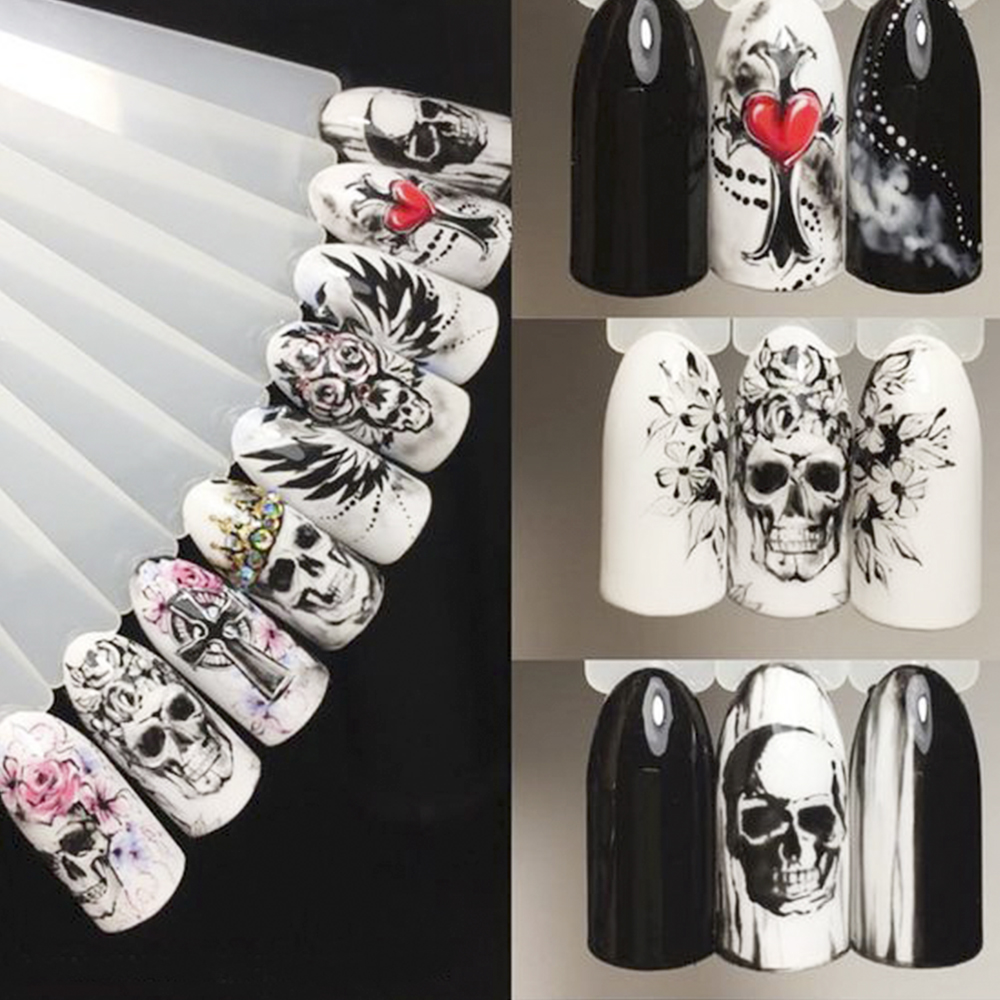 Image 5 - 25pcs Nail Stickers Halloween Sets Skull Bone DIY Slider Nail Art Water Decals Manicure Decoration Wraps Nail Foils CHSTZ731 755-in Stickers & Decals from Beauty & Health