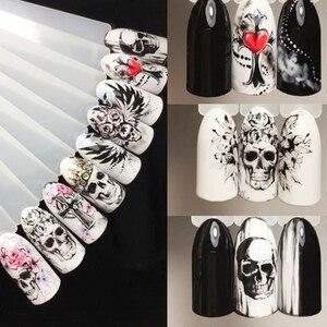Image 5 - 25pcs Nail Stickers Halloween Sets Skull Bone DIY Slider Nail Art Water Decals Manicure Decoration Wraps Nail Foils CHSTZ731 755