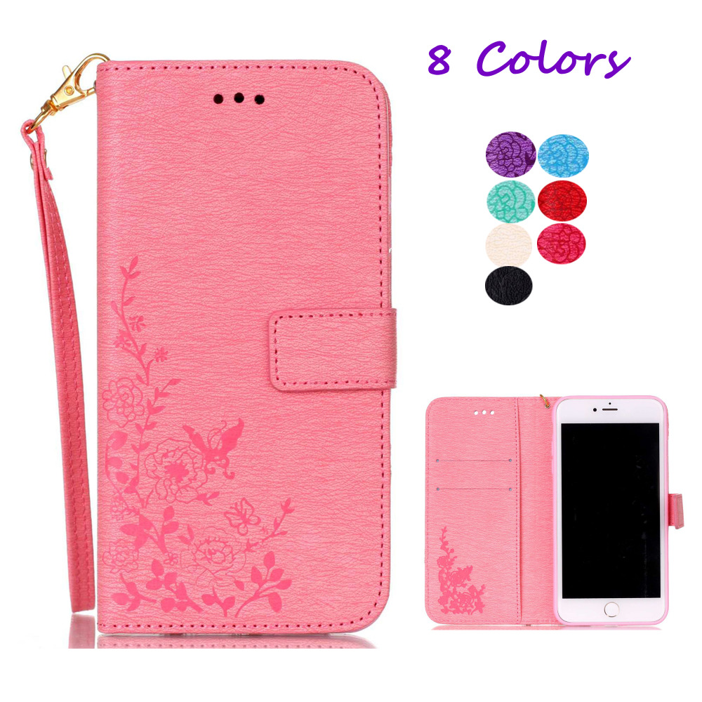 Case for iPhone 7 Plus Luxury Embossing Flowers PU Leather Case Retro Stand Wallet Cover Hand Bag For Apple iPhone7plus 5.5 inch