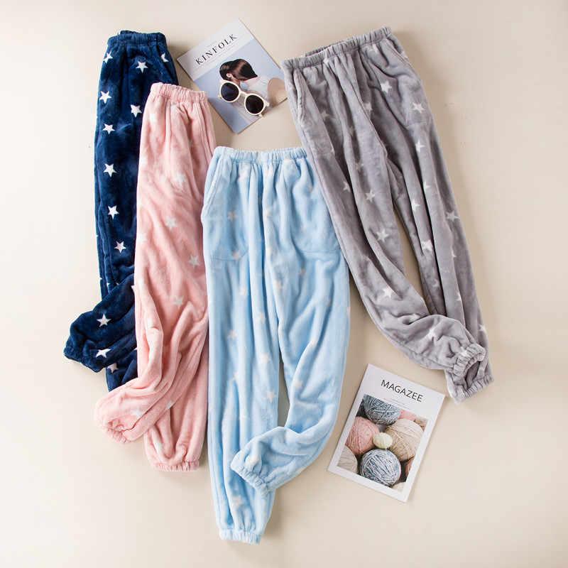 Fdfklak Pantalones De Pijama De Franela Para Mujer Ropa De Salon Gruesa Calida Para Dormir Nuevo Invierno Q1413 Pantalones Para Dormir Aliexpress