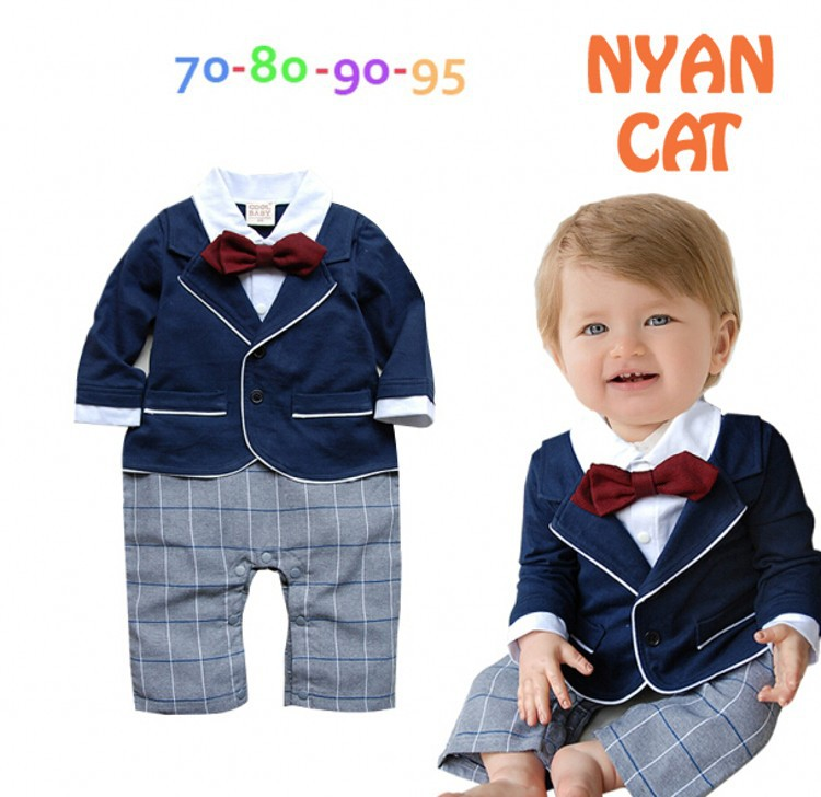 DHL EMS Free shipping Infants Baby boys Kids gentleman party One piece set Romper overall bow Suit 70-80-90-95 Baby Wear ems dhl free shipping wholesales new arrival baby holiday pettiskirt tutu skirt bow party 2pc set holiday clothing costume