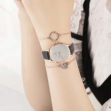 3PCS Watches Bracelet Sets Womens Cow Leather Star Wristwatches Fashion Colored rhinestones Jewelry Gift Box