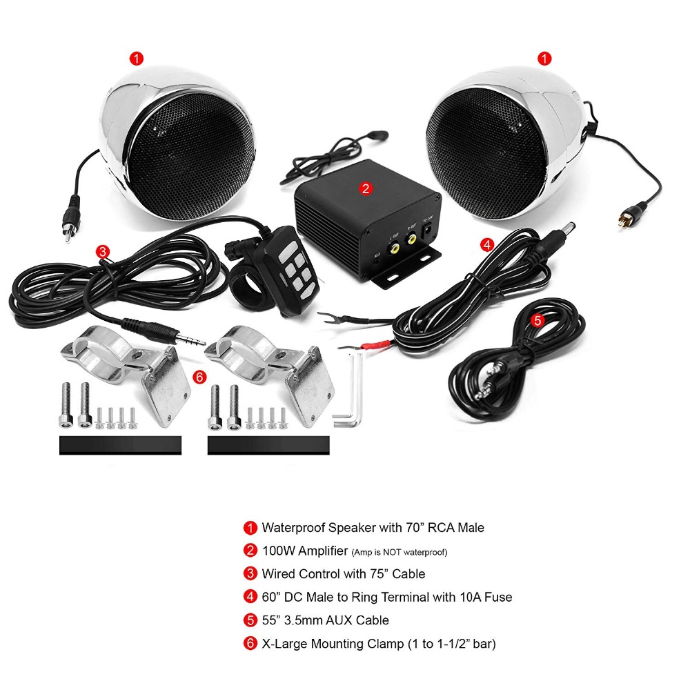 Ensemble Audio moto aijump M150 avec amplificateur stéréo 2ch, haut-parleurs étanches 4 pouces, Bluetooth, Radio FM, AUX MP3 (Chrome) - 3