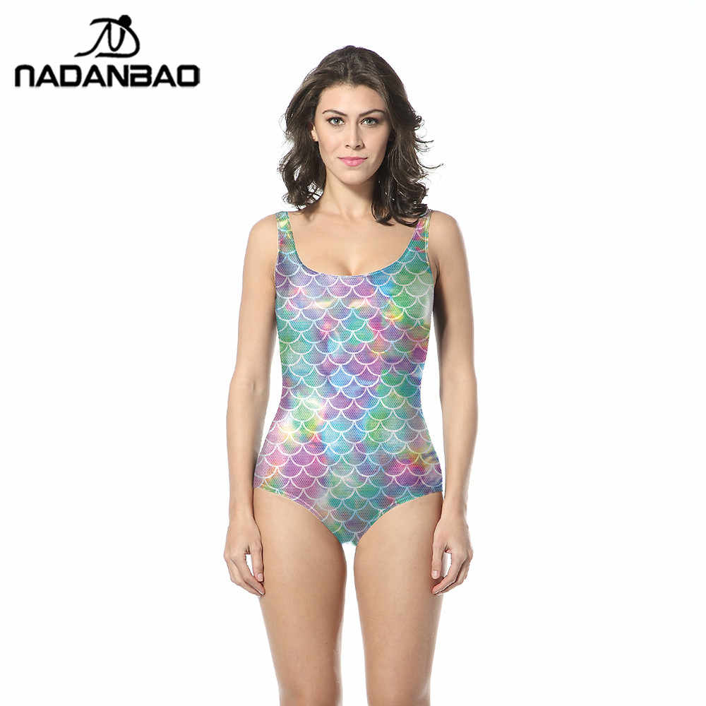b219369392 NADANBAO Mermaid One Piece Swimsuit Colorful SwimWear Bathing Suit Fish  Scales Printed Swimsuit Women Sleeveless Swim
