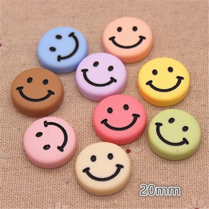 10pcs 20mm Mix Matte Colors Resin Smiley Face Flat Back Cabochon DIY Kids Clip Hair Ornament Acccessories