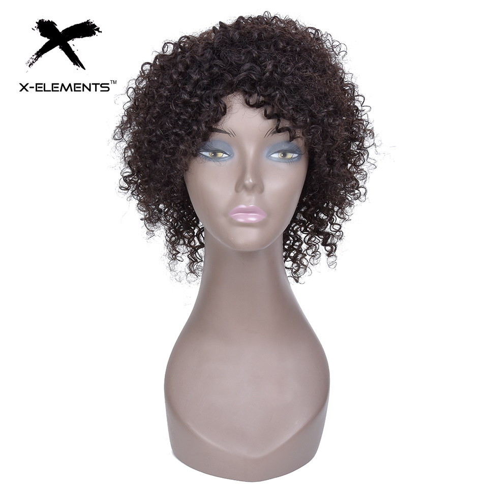 X-Elements Hair Brazilian Jerry Curly Wig 100% Human Hair Non Lace Wig Non-Remy 8 Short Human Hair Machine Made Wigs For Women (5)