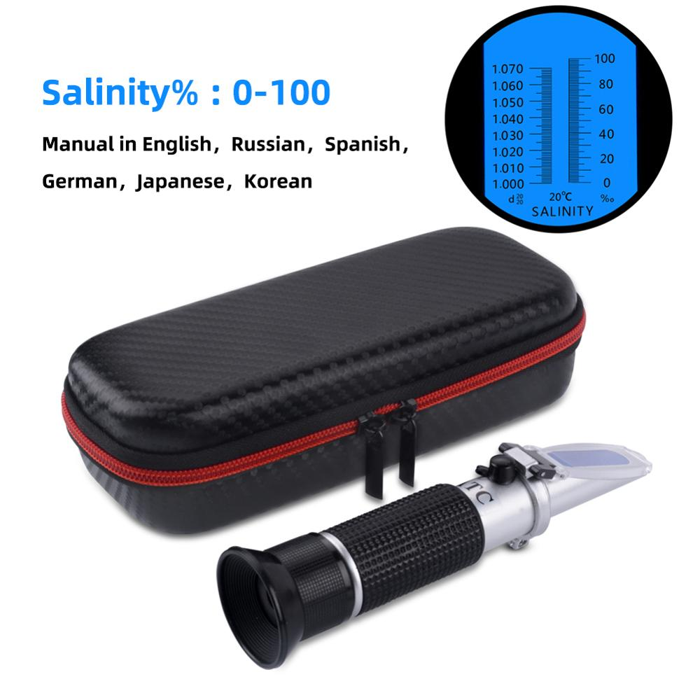 New Handheld 0-100% Seawater Salinity Meter Sodium Chloride Concentration Refractometer With New Shock Box Package
