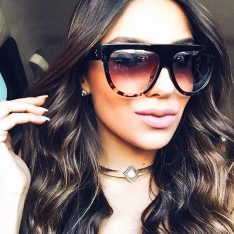 Flat Eyewear Square Oversized Luxury Kim Kardashian Womens Sunglasses Brand Designer Sun Glasses for Women 2017 Lunette De Solei