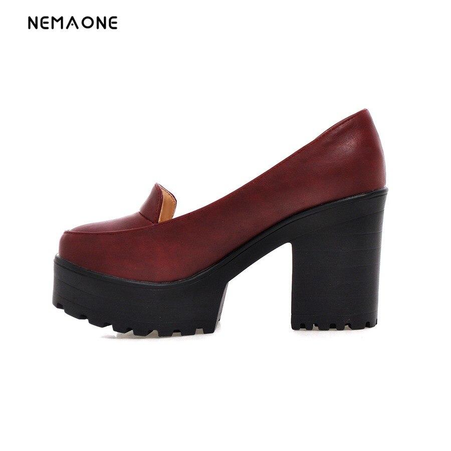 NEMAONE 2017 New fashion women shoes thick high heels platform shoes woman dress shoes women pumps black red blue ladies shoes