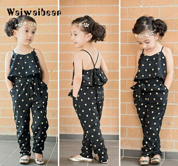 New Summer season Children Ladies Clothes Units Cotton Sleeveless Polka Dot Strap Ladies Jumpsuit Garments Units Outfits Kids Style Fits Clothes Units, Low cost Clothes Units, New Summer season...