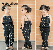 New Summer Kids Girls Clothing Sets Cotton Sleeveless Polka Dot Strap Jumpsuit Clothes Outfits Children Fashion Suits