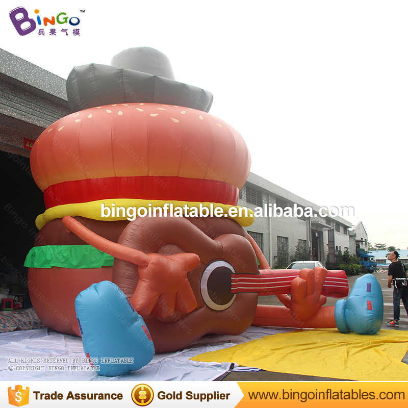 20ft./6m high cute funny inflatable hamburger with guitar for promotion events BG-A1030 toy cute hamburger lunch box with utensils set