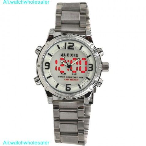 AW802D Date LED BackLight Water Resist Men Dual Time Alexis Analog Digital Watch