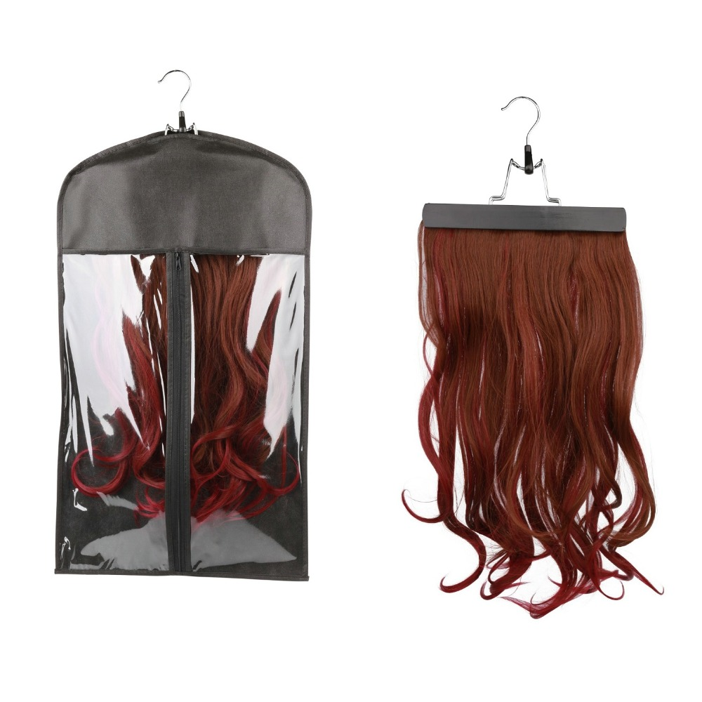 Portable Hair Extension Storage Hanger Bag Folding Clothes Holder Organizer Case