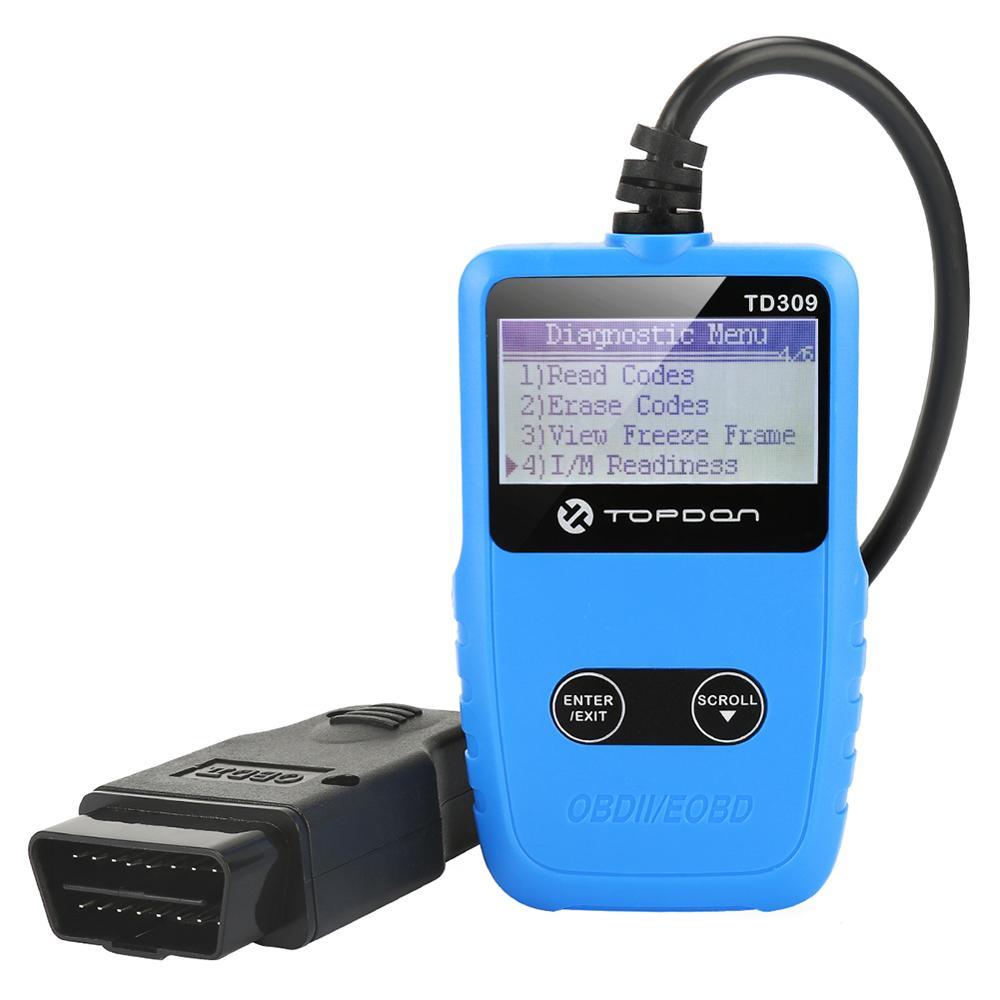 TOPDON TD309 12 V OBD2 EOBD Leitor de Código de Carro Ferramenta de Diagnóstico Do Scanner Freeze frame I/M Readiness desligar o MIL para DTCs