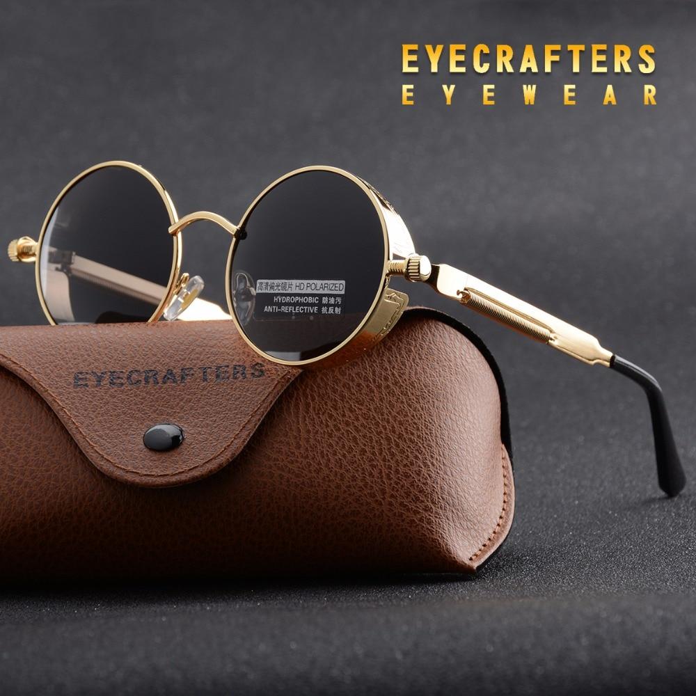 Mens Womens Fashion Retro Vintage Shield Eyewear Shades Gold Metal Polarized Sunglasses Gothic Steampunk Sunglasses