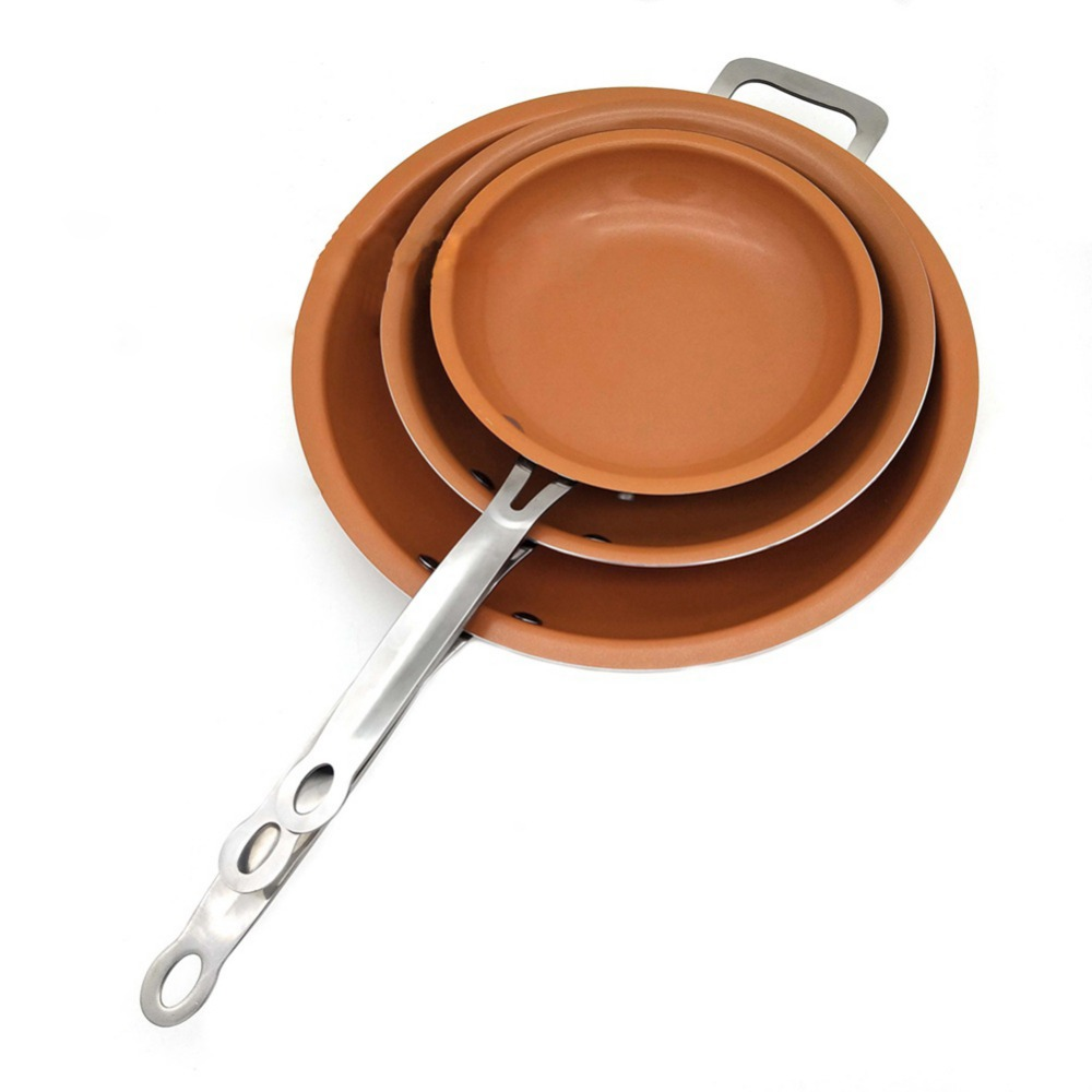 Round Non-stick Copper Frying Pan With Ceramic Coating Gas And Induction Cooker Skillet Pans Oven Dishwasher Safe Cookware Parts