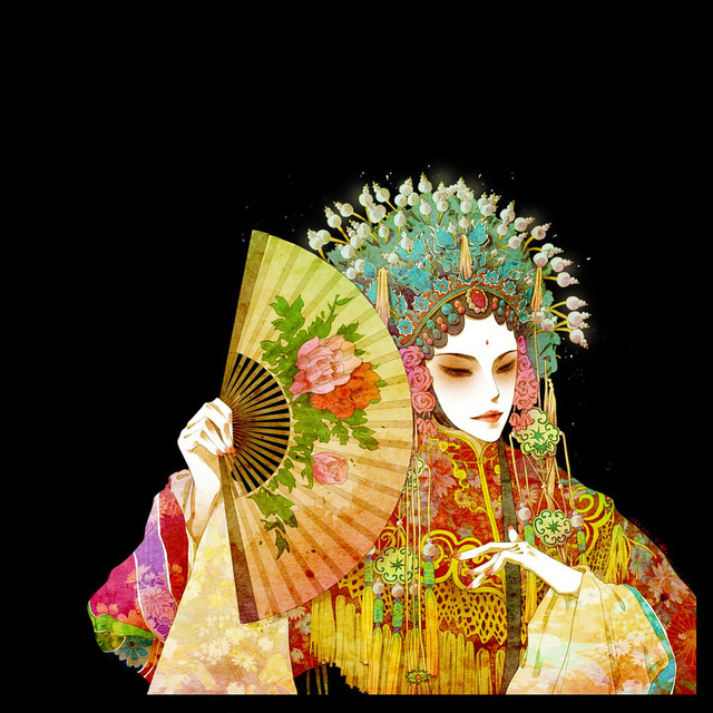 Fabric Asian print silk