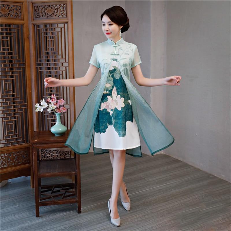 Green Satin Sexy Traditional Chinese Women Dress New Arrival Flower Silm Short Qipao Novelty Vietnam Aodai