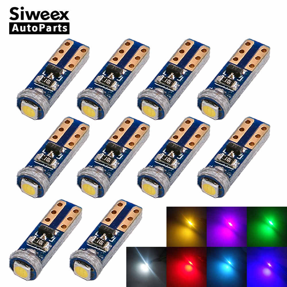 10X W3W T5 Socket 1 SMD 3030 Car LED Bulbs Canbus Error Free Instrument Light 12V White Blue Green Pink Red Yellow Ice Blue Lamp