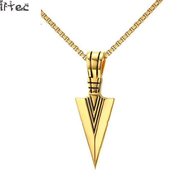 Iftec striking mens necklaces punk spearhead arrowhead pendant iftec striking mens necklaces punk spearhead arrowhead pendant necklace for men special surf bike jewelry gold aloadofball Image collections