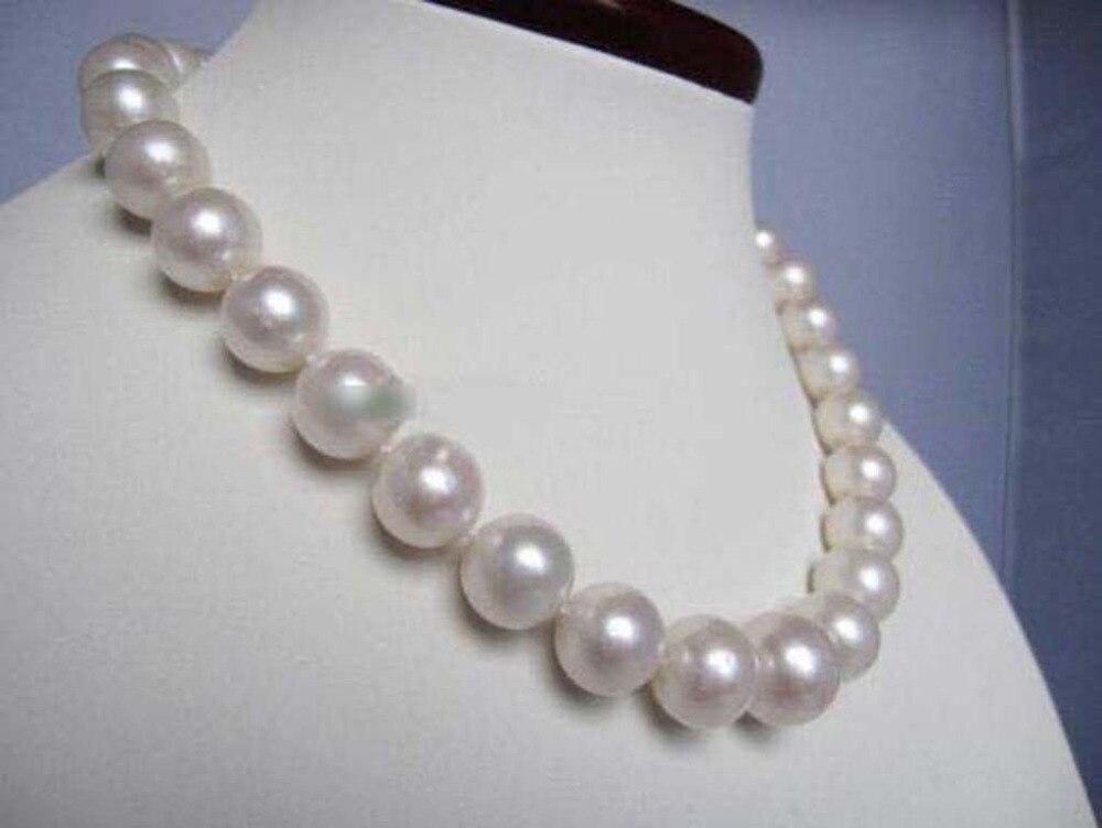 Beau collier de perles blanches naturelles Akoya 11-12mm fait à la main 20''AAA