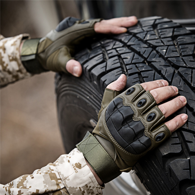 Army Tactical Fingerless Military Hard Knuckle Half Finger Gloves Airsoft Paintball Bicycle Shooting Protection Gear Men Glove(China)