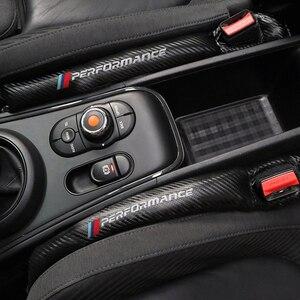 Image 3 - 1Pcs Carbon Fiber Lekvrij Beschermende Seat Gap Auto Cover Pad Voor Bmw M Power Prestaties M3 M5 X1 X3 x5 X6 E46 E39 E36