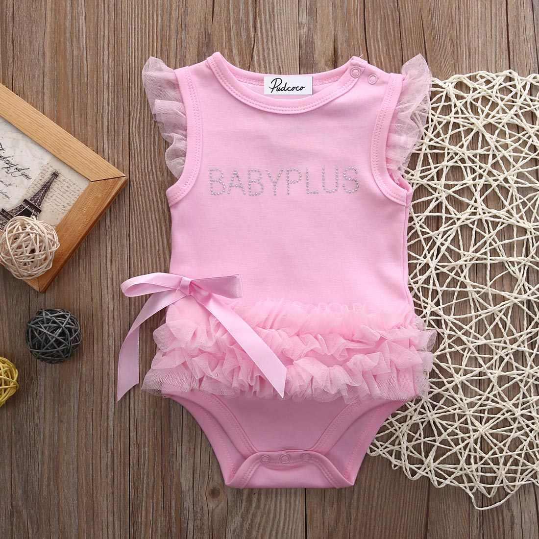 Moda princesa Rosa arco niña Romper bebé Niñas Ropa niños mono trajes 0-24 M