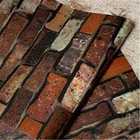 Beibehang 3D Chinese style retro dark red brick wallpaper restaurant faux brick waterproof culture stone wallpaper