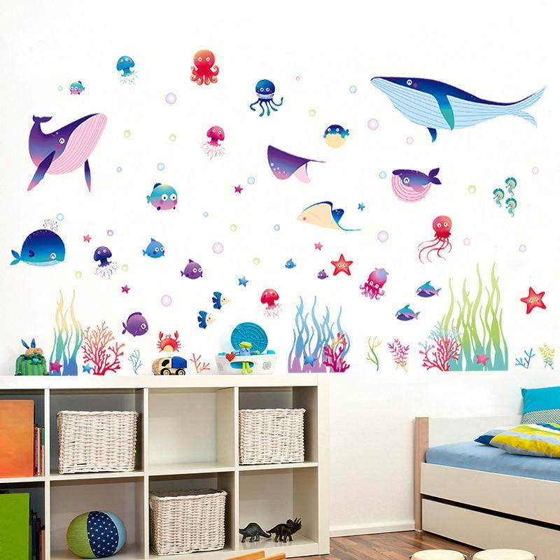 US $4.26 13% di SCONTO|DIY Cute Cartoon Piccolo Pesce Adesivi Murali Camera  Da Letto Camera Dei Bambini Carta Da Parati Carta Da Parati Ornamenti ...