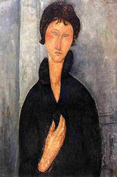 Woman with Blue Eyes 1918 Amedeo Modigliani art online for sale High quality oil on canvas woman Portrait painting Handmade