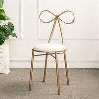 Американский кантри современный дизайн золотой цвет железный металлический обеденный стул Бабочка спинка Досуг туалетный стул мягкая под