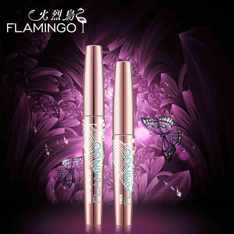 Ny uppgraderingskombination Mascara Flamingo Mascara Fiber Mascara 1set / 2st. Voluminerande Nattduk Längd Busig Mascara 6072s