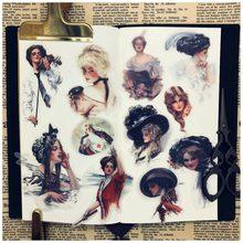 Diy scrapbooking adesivos vintage belas meninas colorido mão conta álbum foto feliz planejador artesanato adesivos decorativos