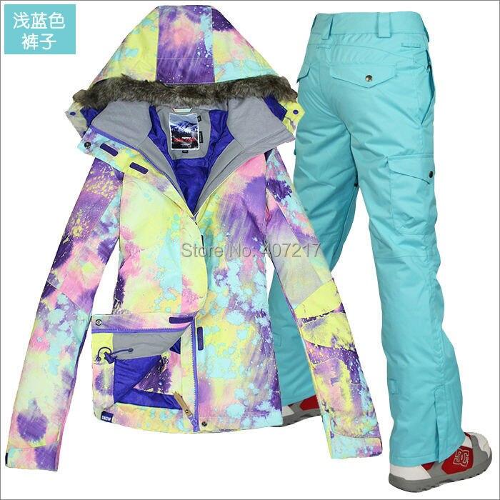 Prix pour 2014 hot femmes mesdames combinaison de ski snowboard costume violet rose bleu clair veste + bleu clair pantalon usure de neige vêtements de ski étanche