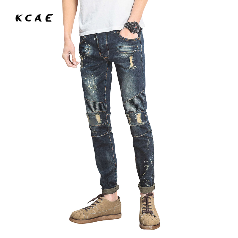 2017 New Men's Fashion Vintage Zipper Patch Hole Ripped Biker Jeans Slim Straight Stretch Denim Pants Long Trousers 2017 fashion patch jeans men slim straight denim jeans ripped trousers new famous brand biker jeans logo mens zipper jeans 604