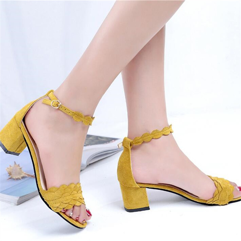 SALE-2017 Summer Sandals Women Medium High Heel Shoes 6 cm Heel Open Toe Square Heel Pumps Ankle Buckle Strap Office Lady Shoes xiaying smile summer new woman sandals platform women pumps buckle strap high square heel fashion casual flock lady women shoes