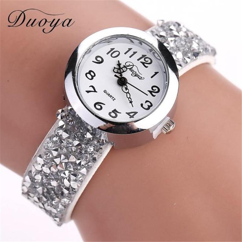 Duoya Brand Watches Women Luxury Crystal Women Bracelet Quartz Wristwatch Rhinestone Clock Ladies Dress Gift Watches erkek kol s l 10 women s stylish petals style bracelet quartz analog wristwatch golden white 1 x lr626
