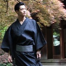 75fdcd0a55 Men Japanese Style Kimono Bathrobe Yukata Long Pajamas Cotton Robe  Breathable Summer(China)