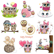 Cartoon Animal Patch Iron on Transfer Cute Owl Patches for Kids Clothing DIY T-shirt Applique Heat Vinyl Stickers Press