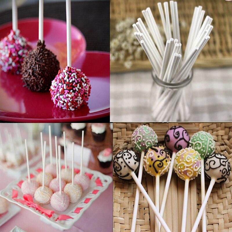 2015 200PCS 15CM Paper Pop Sucker Sticks Chocolate Cake Lollipop Lolly Candy Making Mould KH037